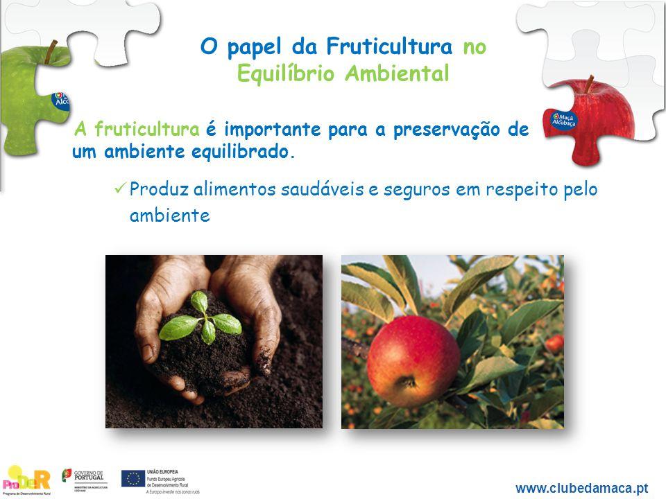 O papel da Fruticultura no Equilíbrio Ambiental www.clubedamaca.pt Sabias que os pomares da Maçã de Alcobaça sequestram anualmente cerca de 15.000 toneladas de dióxido de carbono.