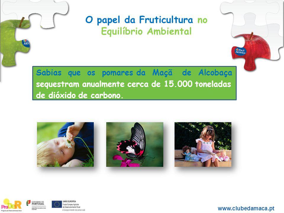 O papel da Fruticultura no Equilíbrio Ambiental www.clubedamaca.pt Sabias que os pomares da Maçã de Alcobaça sequestram anualmente cerca de 15.000 ton