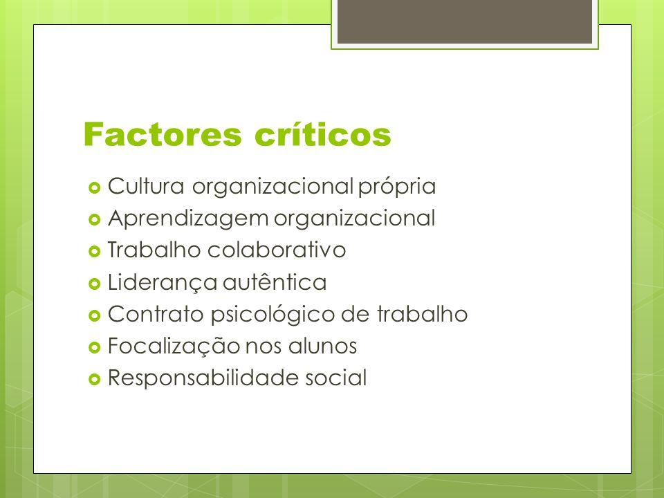 Factores críticos  Cultura organizacional própria  Aprendizagem organizacional  Trabalho colaborativo  Liderança autêntica  Contrato psicológico de trabalho  Focalização nos alunos  Responsabilidade social