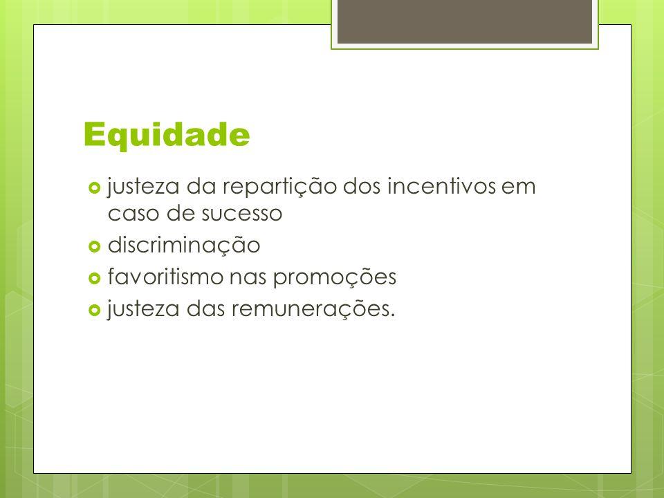 Equidade  justeza da repartição dos incentivos em caso de sucesso  discriminação  favoritismo nas promoções  justeza das remunerações.
