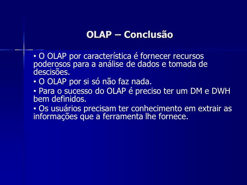OLAP – Conclusão O OLAP por característica é fornecer recursos poderosos para a análise de dados e tomada de descisões. O OLAP por si só não faz nada.