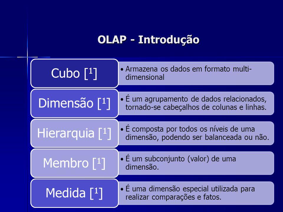 OLAP - Introdução Armazena os dados em formato multi- dimensional Cubo [ 1 ] É um agrupamento de dados relacionados, tornado-se cabeçalhos de colunas