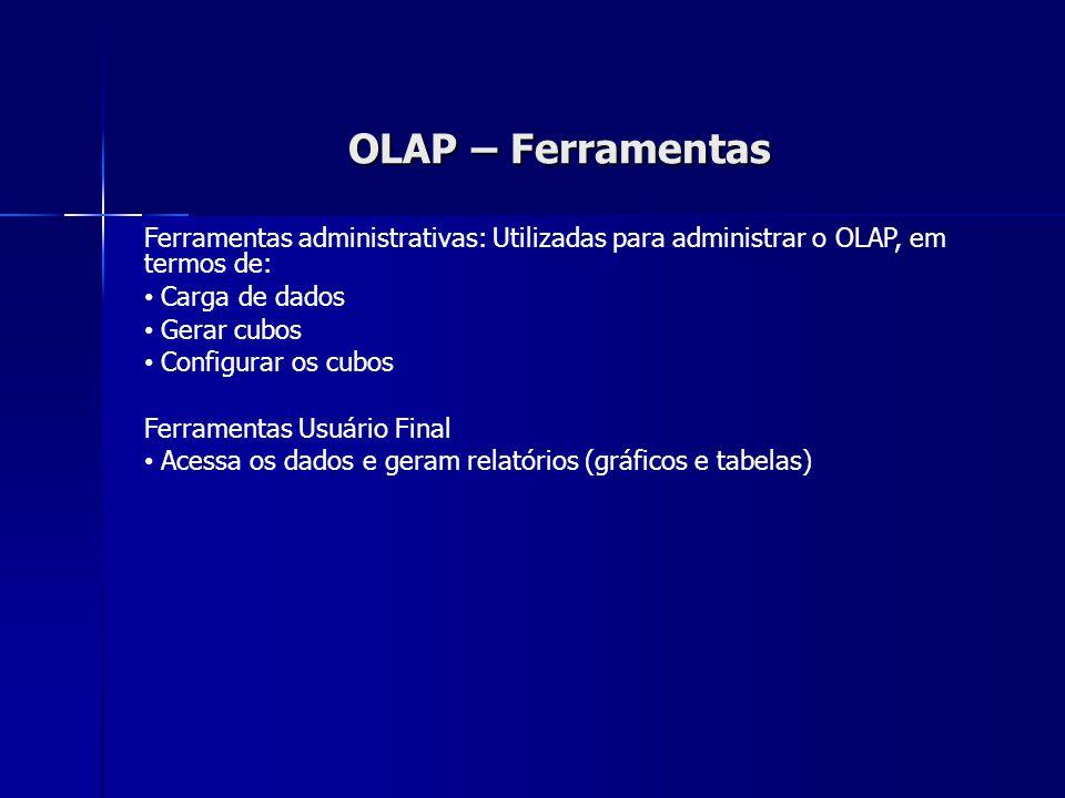 OLAP – Ferramentas Ferramentas administrativas: Utilizadas para administrar o OLAP, em termos de: Carga de dados Gerar cubos Configurar os cubos Ferramentas Usuário Final Acessa os dados e geram relatórios (gráficos e tabelas)