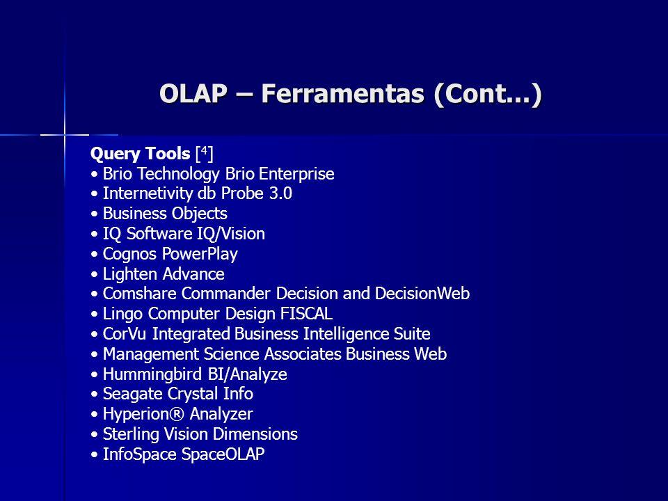 OLAP – Ferramentas (Cont...) Query Tools [ 4 ] Brio Technology Brio Enterprise Internetivity db Probe 3.0 Business Objects IQ Software IQ/Vision Cogno