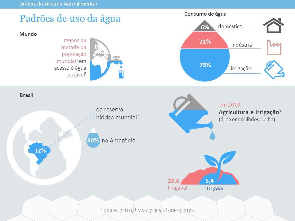 Padrões de uso da água Drivers do Sistema Agroalimentar Brasil Mundo 12% 80% na Amazônia 29,6 menos da metade da população mundial tem acesso à água p
