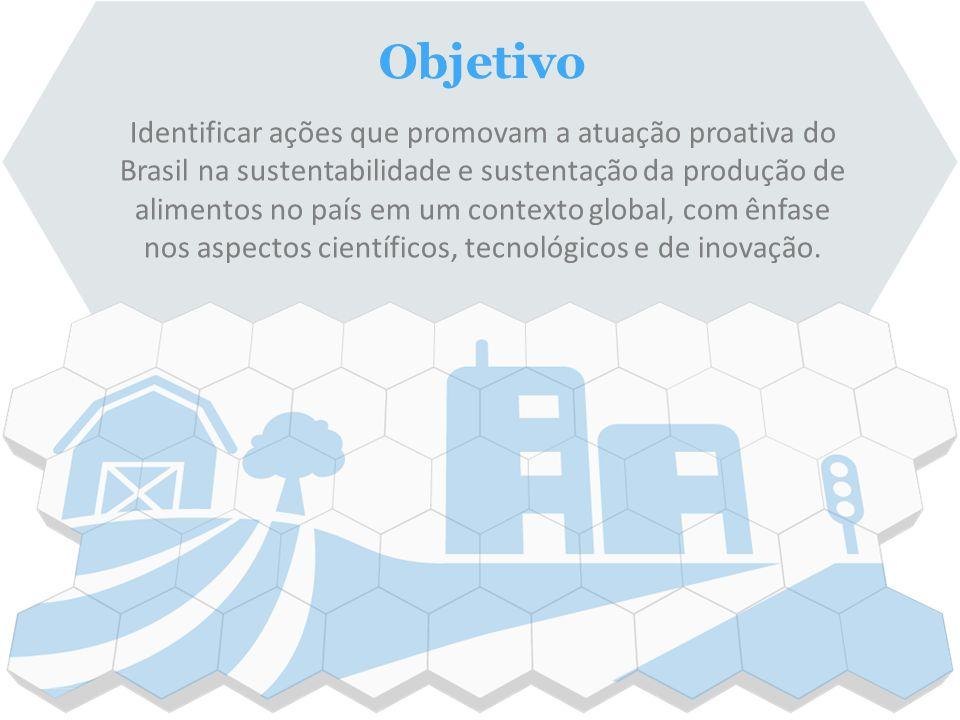 Identificar ações que promovam a atuação proativa do Brasil na sustentabilidade e sustentação da produção de alimentos no país em um contexto global,