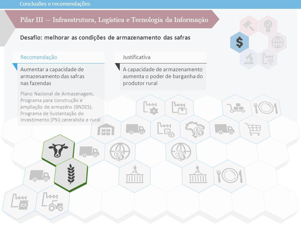Conclusões e recomendações Desafio: melhorar as condições de armazenamento das safras Pilar III — Infraestrutura, Logística e Tecnologia da Informação