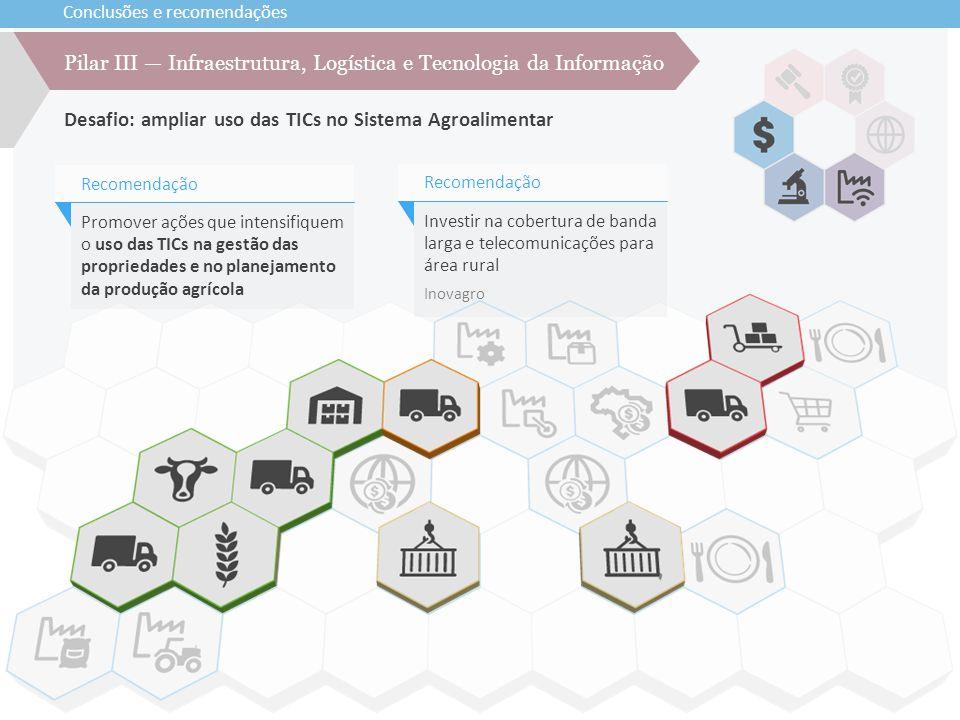 Conclusões e recomendações Desafio: ampliar uso das TICs no Sistema Agroalimentar Pilar III — Infraestrutura, Logística e Tecnologia da Informação Pro