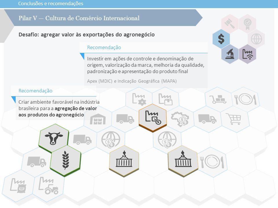 Conclusões e recomendações Desafio: agregar valor às exportações do agronegócio Pilar V — Cultura de Comércio Internacional Investir em ações de contr