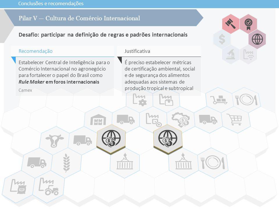 Conclusões e recomendações Desafio: participar na definição de regras e padrões internacionais Pilar V — Cultura de Comércio Internacional Estabelecer