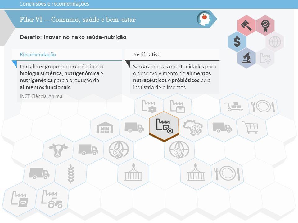 Conclusões e recomendações Desafio: inovar no nexo saúde-nutrição Pilar VI — Consumo, saúde e bem-estar Fortalecer grupos de excelência em biologia si