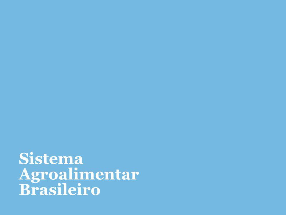 Sistema agroalimentar brasileiro PIB Brasil R$4,844 tri ¹ Pecuária R$332,61 bi (30,45%) ¹ Agricultura R$759,62 bi (69,54%)¹ Emprego Total de Exportações US$242,17 bi ² * ¹, ² Dados referentes à 2013, ³ à 2012, da indústria de transformação Fonte: Cepea-USP/CNA¹, MAPA²,IPEA³