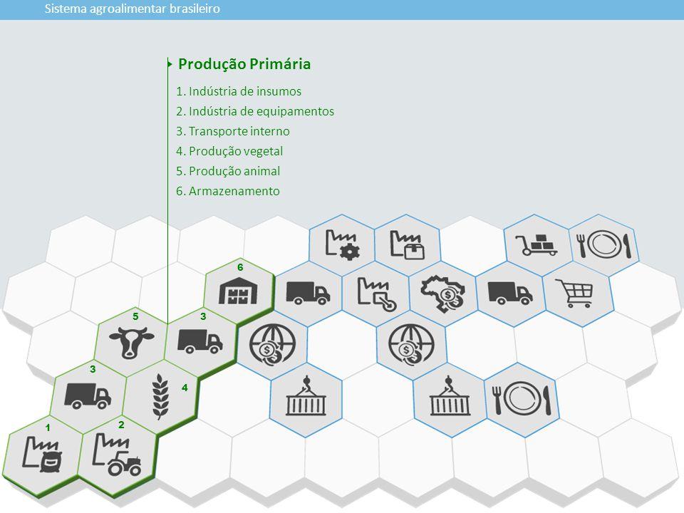 1 2 3 4 5 6 3 Sistema agroalimentar brasileiro 1. Indústria de insumos 2. Indústria de equipamentos 3. Transporte interno 4. Produção vegetal 5. Produ