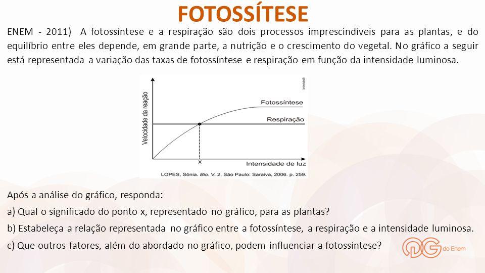 FOTOSSÍTESE ENEM - 2011) A fotossíntese e a respiração são dois processos imprescindíveis para as plantas, e do equilíbrio entre eles depende, em gran