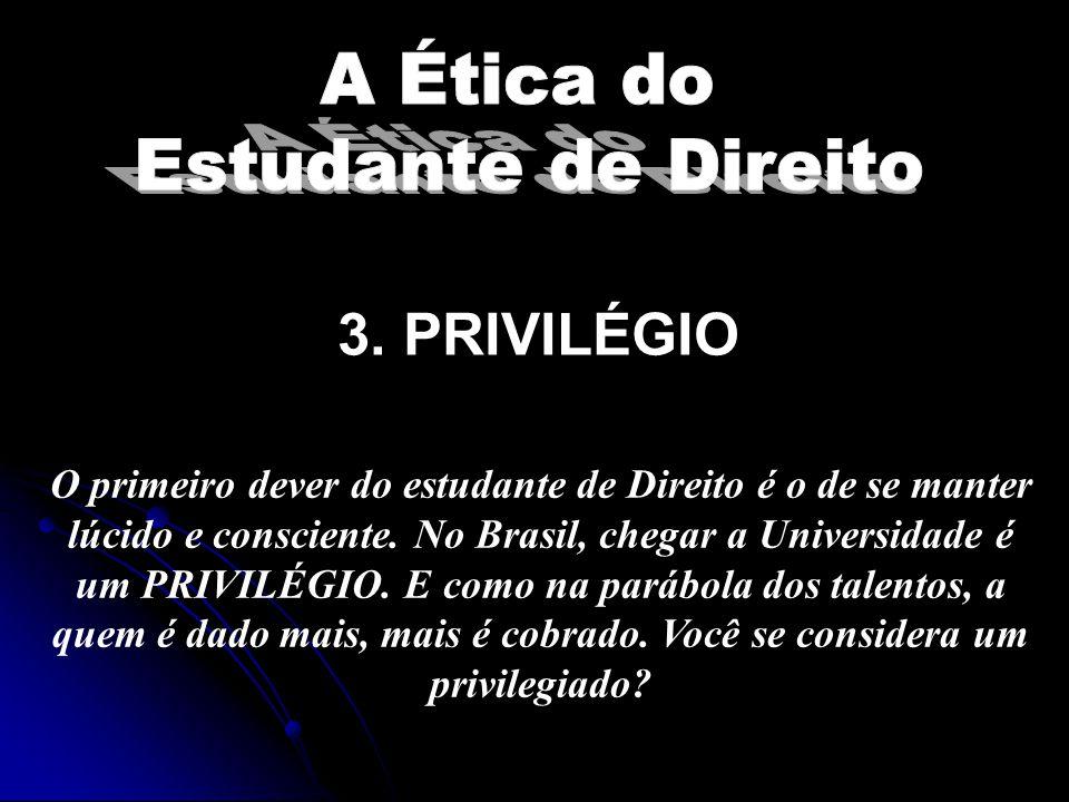 3.PRIVILÉGIO O primeiro dever do estudante de Direito é o de se manter lúcido e consciente.