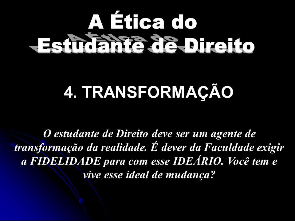 3. PRIVILÉGIO O primeiro dever do estudante de Direito é o de se manter lúcido e consciente. No Brasil, chegar a Universidade é um PRIVILÉGIO. E como