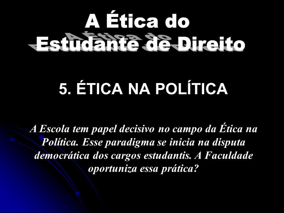 5.ÉTICA NA POLÍTICA A Escola tem papel decisivo no campo da Ética na Política.