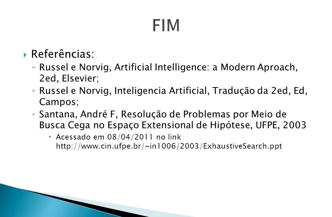 Referências: ◦ Russel e Norvig, Artificial Intelligence: a Modern Aproach, 2ed, Elsevier; ◦ Russel e Norvig, Inteligencia Artificial, Tradução da 2e