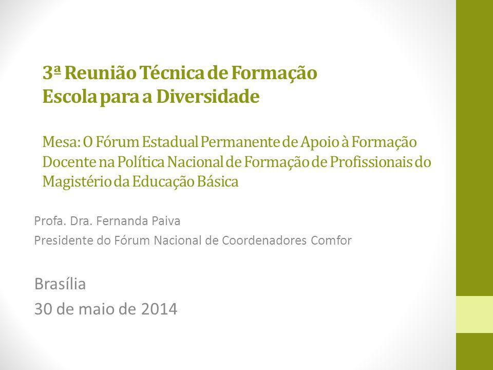 3ª Reunião Técnica de Formação Escola para a Diversidade Mesa: O Fórum Estadual Permanente de Apoio à Formação Docente na Política Nacional de Formação de Profissionais do Magistério da Educação Básica Profa.