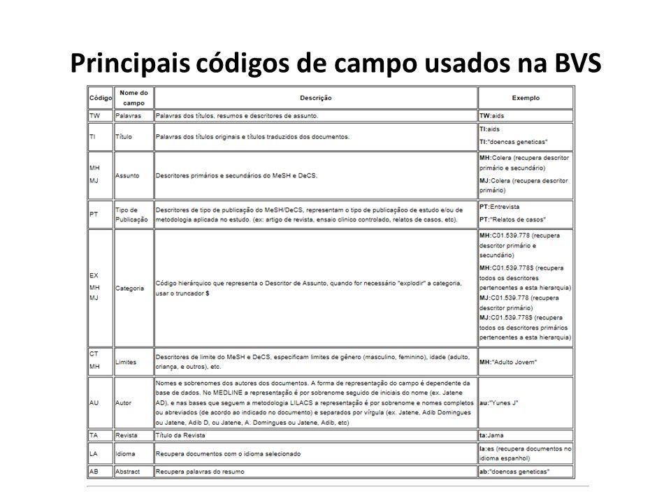 Principais códigos de campo usados na BVS