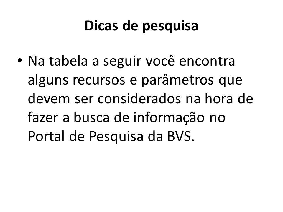 Dicas de pesquisa Na tabela a seguir você encontra alguns recursos e parâmetros que devem ser considerados na hora de fazer a busca de informação no Portal de Pesquisa da BVS.