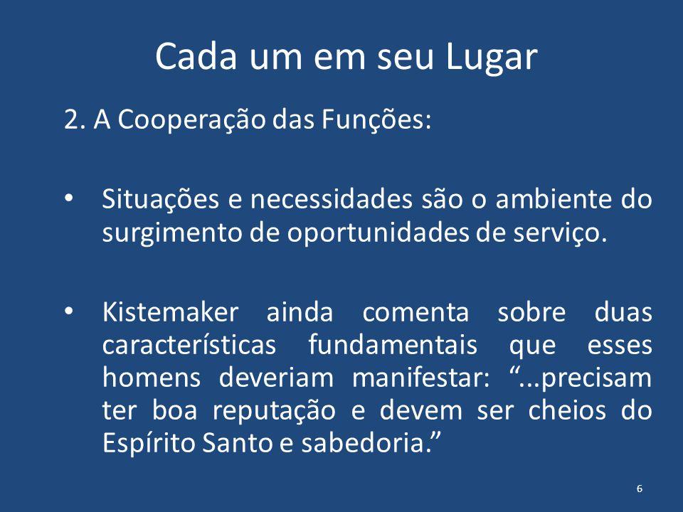 Cada um em seu Lugar 2. A Cooperação das Funções: Situações e necessidades são o ambiente do surgimento de oportunidades de serviço. Kistemaker ainda