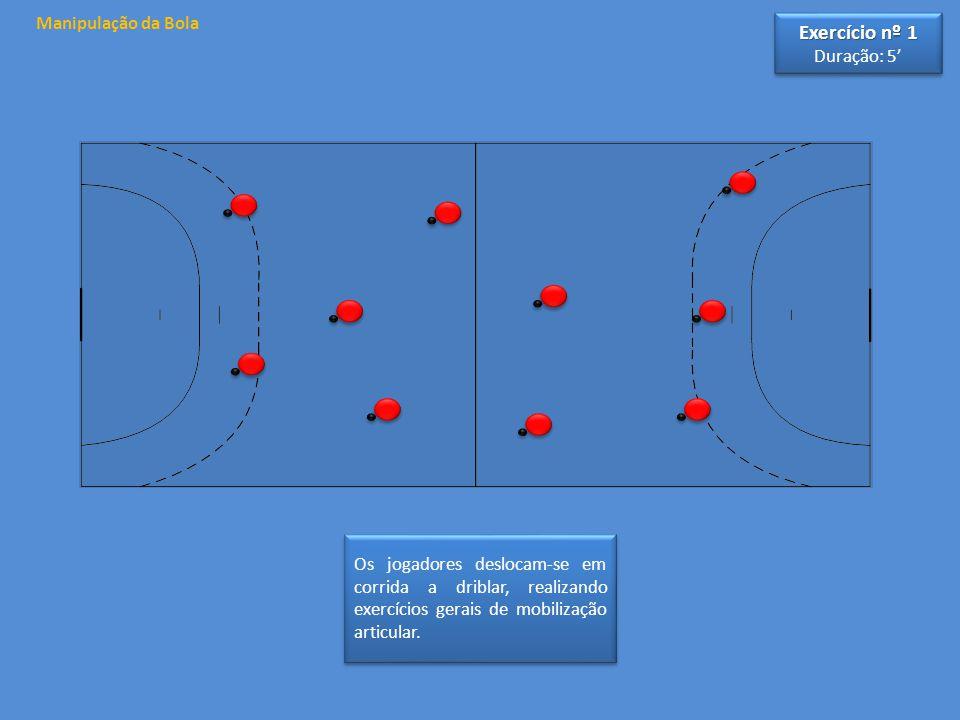 Manipulação da Bola Os jogadores deslocam-se em corrida a driblar, realizando exercícios gerais de mobilização articular.