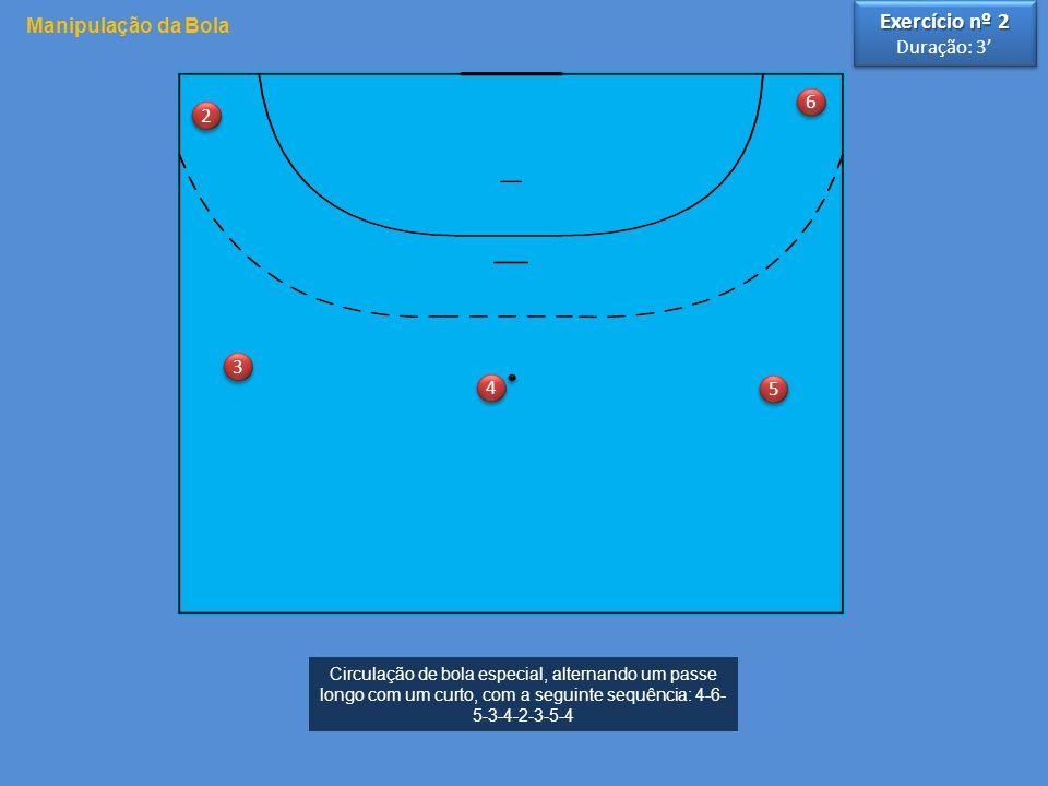 3 3 4 4 5 5 6 6 2 2 Circulação de bola especial, alternando um passe longo com um curto, com a seguinte sequência: 4-6- 5-3-4-2-3-5-4 Manipulação da Bola Exercício nº 2 Duração: 3' Exercício nº 2 Duração: 3'