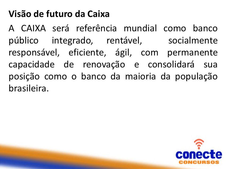 Visão de futuro da Caixa A CAIXA será referência mundial como banco público integrado, rentável, socialmente responsável, eficiente, ágil, com permane