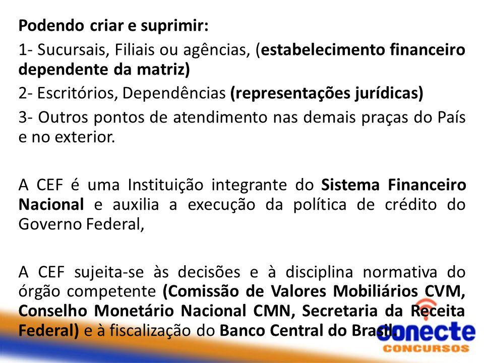 Podendo criar e suprimir: 1- Sucursais, Filiais ou agências, (estabelecimento financeiro dependente da matriz) 2- Escritórios, Dependências (represent