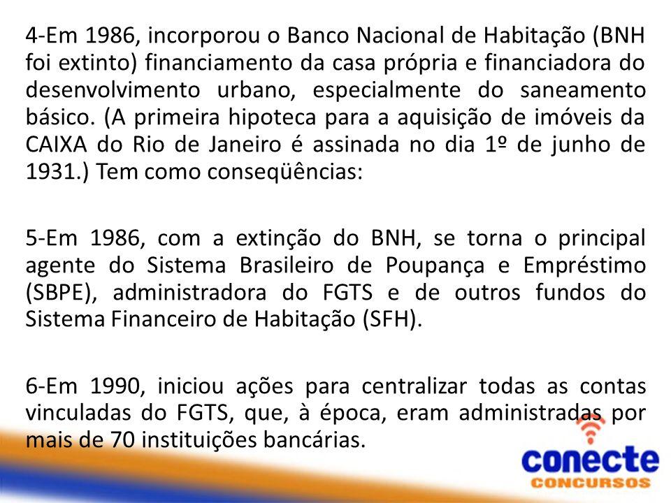 4-Em 1986, incorporou o Banco Nacional de Habitação (BNH foi extinto) financiamento da casa própria e financiadora do desenvolvimento urbano, especial