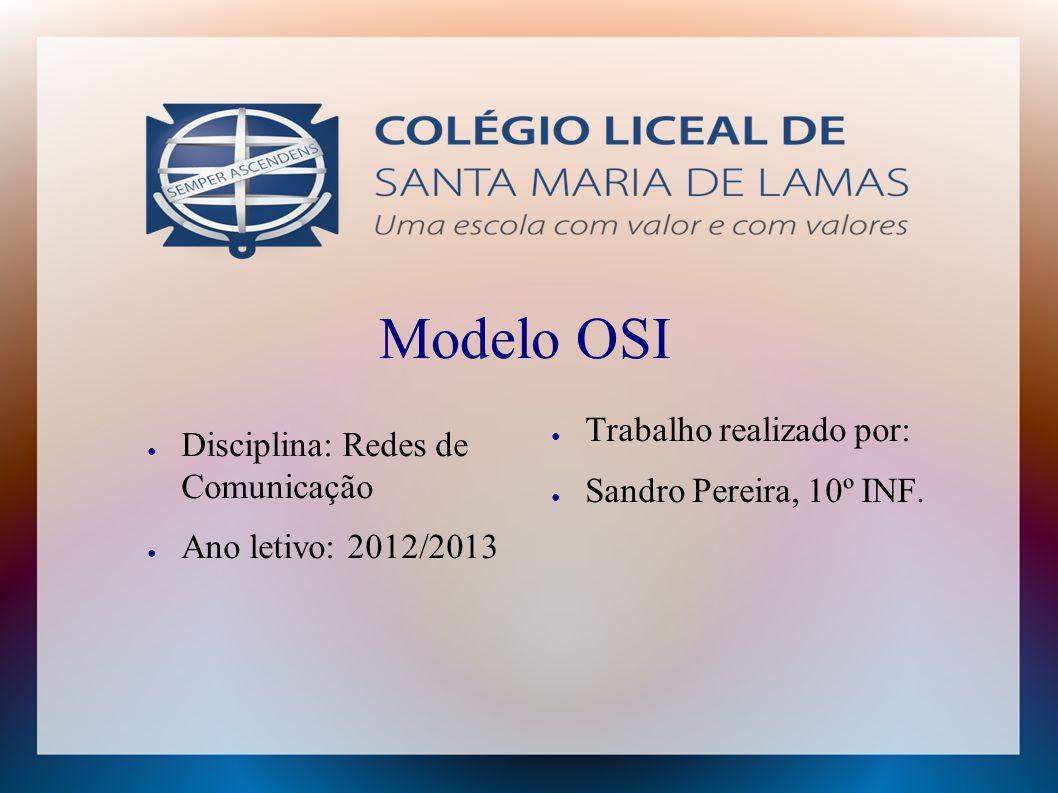 Modelo OSI ● Disciplina: Redes de Comunicação ● Ano letivo: 2012/2013 ● Trabalho realizado por: ● Sandro Pereira, 10º INF.