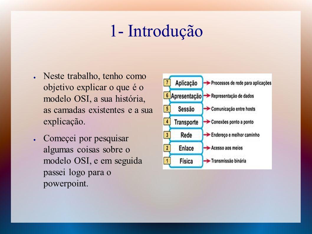 1- Introdução ● Neste trabalho, tenho como objetivo explicar o que é o modelo OSI, a sua história, as camadas existentes e a sua explicação. ● Começei