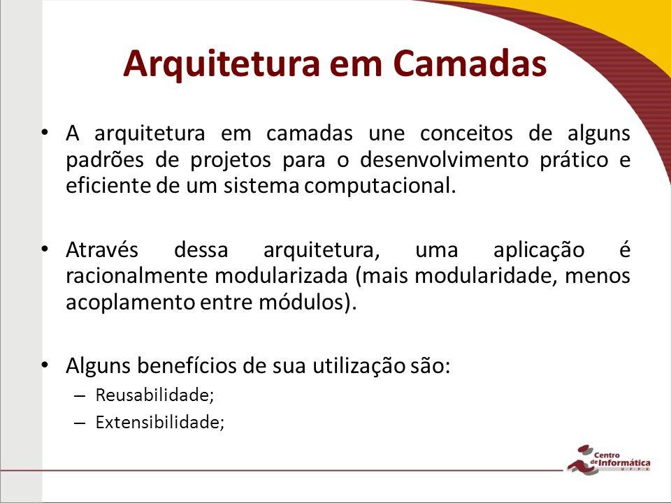 Arquitetura em Camadas A arquitetura em camadas une conceitos de alguns padrões de projetos para o desenvolvimento prático e eficiente de um sistema c