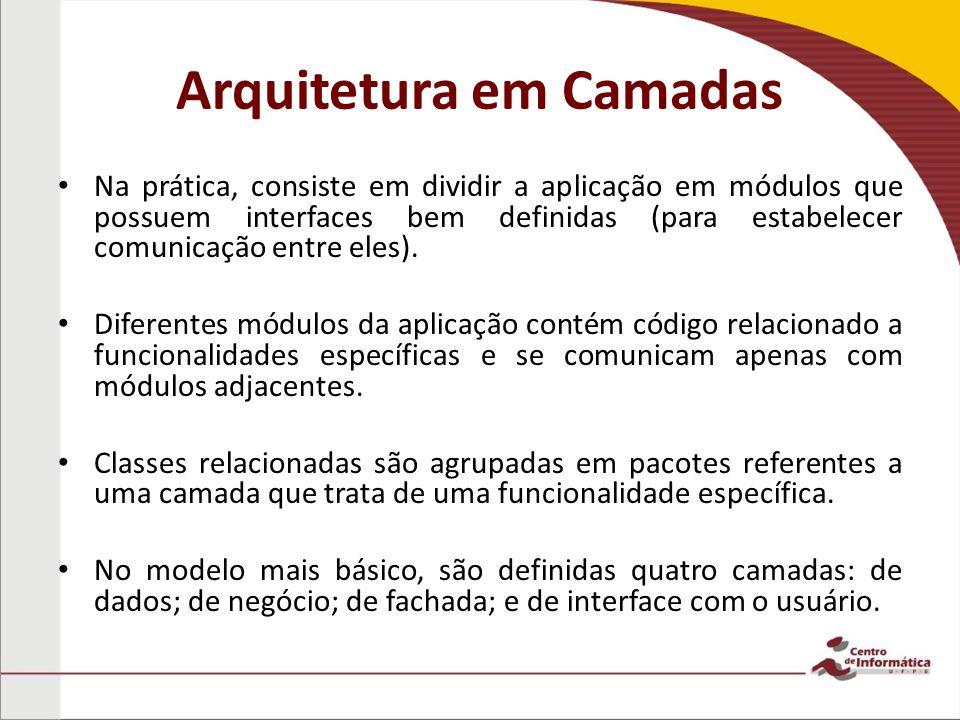 Arquitetura em Camadas Na prática, consiste em dividir a aplicação em módulos que possuem interfaces bem definidas (para estabelecer comunicação entre