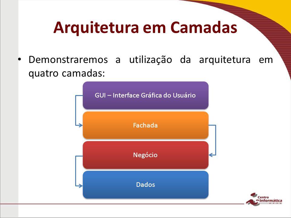 Arquitetura em Camadas Demonstraremos a utilização da arquitetura em quatro camadas: GUI – Interface Gráfica do Usuário Fachada Negócio Dados