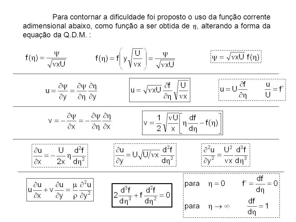 Para contornar a dificuldade foi proposto o uso da função corrente adimensional abaixo, como função a ser obtida de , alterando a forma da equação da