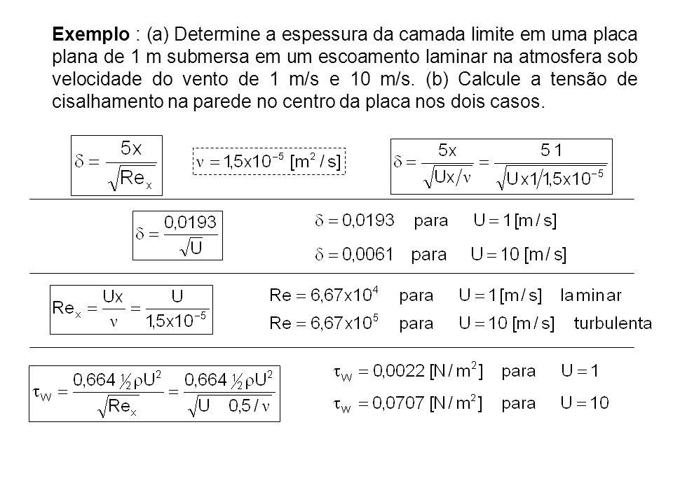 Exemplo : (a) Determine a espessura da camada limite em uma placa plana de 1 m submersa em um escoamento laminar na atmosfera sob velocidade do vento