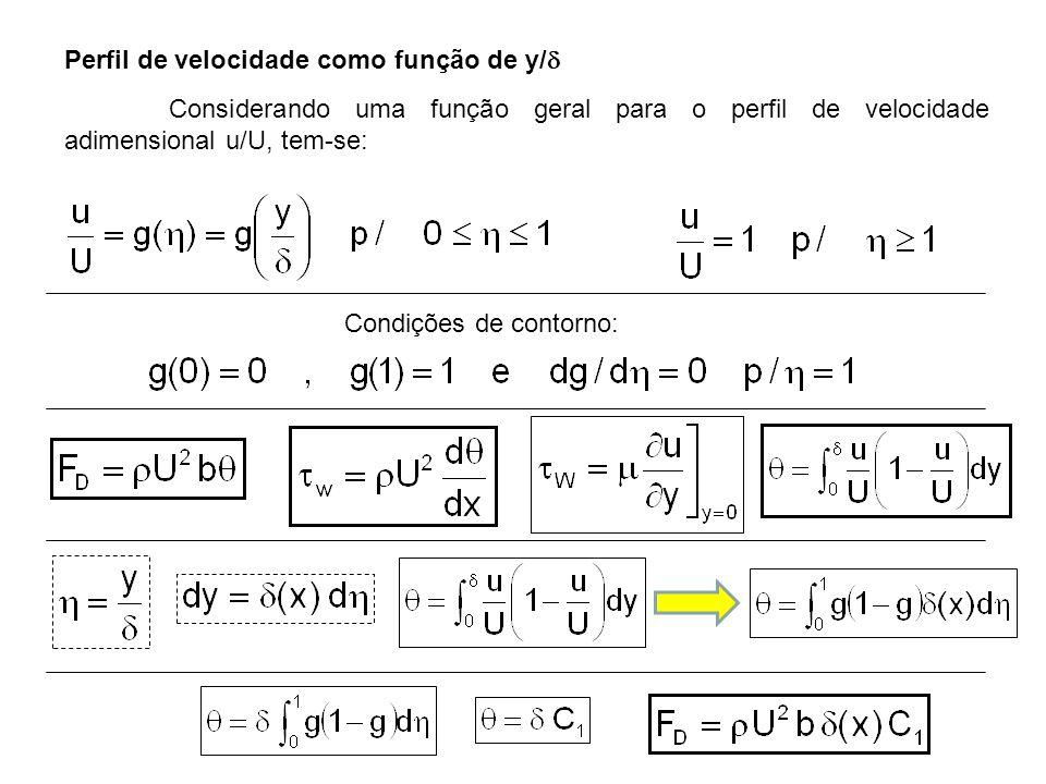 Considerando uma função geral para o perfil de velocidade adimensional u/U, tem-se: Condições de contorno: Perfil de velocidade como função de y/ 
