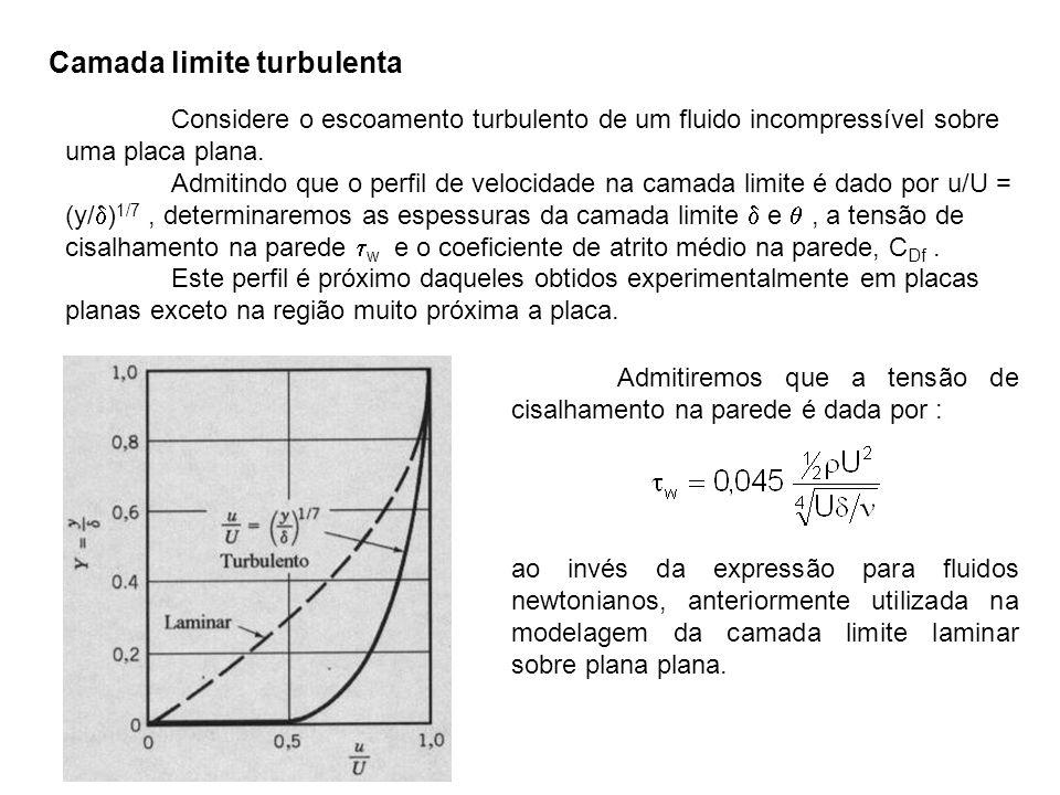 Considere o escoamento turbulento de um fluido incompressível sobre uma placa plana. Admitindo que o perfil de velocidade na camada limite é dado por
