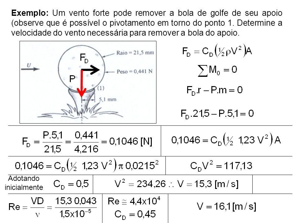 Exemplo: Um vento forte pode remover a bola de golfe de seu apoio (observe que é possível o pivotamento em torno do ponto 1. Determine a velocidade do
