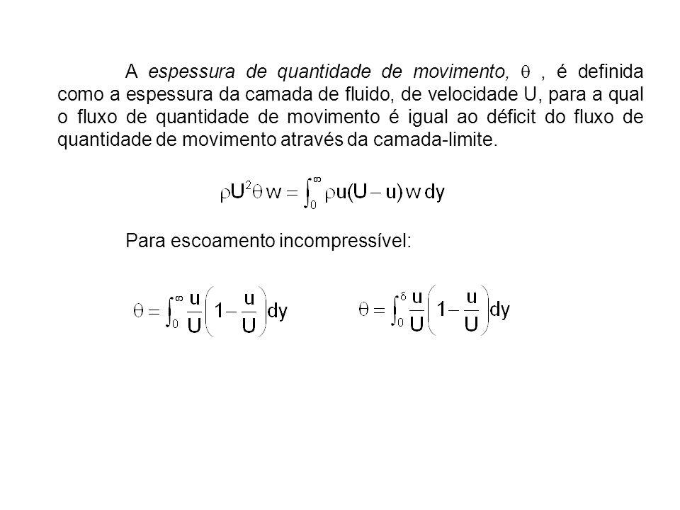 A espessura de quantidade de movimento, , é definida como a espessura da camada de fluido, de velocidade U, para a qual o fluxo de quantidade de movi