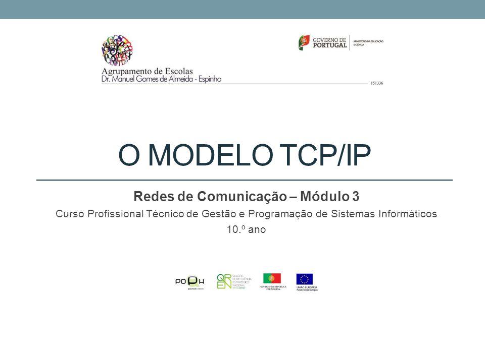 TCP/IP O TCP/IP, embora esteja associado ao modelo OSI, utiliza apenas cinco camadas: Camada de aplicação – utiliza protocolos como HTTP e FTP; Camada de transporte – onde a informação é enviada e recebida através de protocolos como o TCP e o UDP; Camada de rede – é adicionada informação do IP aos pacotes; Camada de ligação – onde é definido como a informação vai ser transportada na rede.