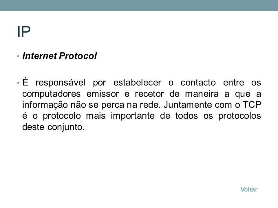 IP Internet Protocol É responsável por estabelecer o contacto entre os computadores emissor e recetor de maneira a que a informação não se perca na re