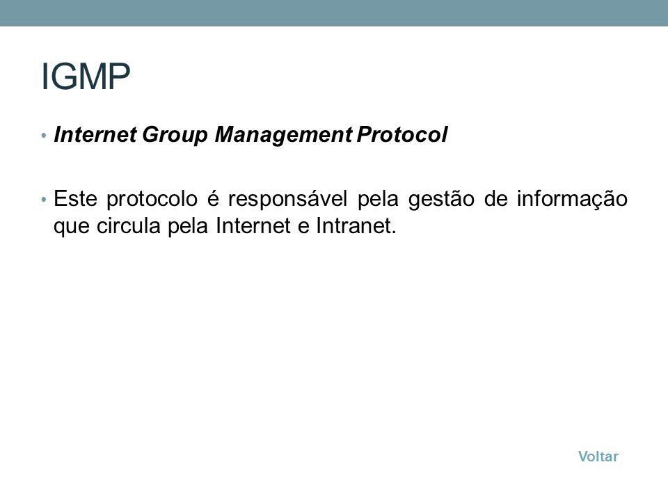 IGMP Internet Group Management Protocol Este protocolo é responsável pela gestão de informação que circula pela Internet e Intranet. Voltar