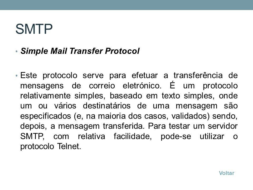 SMTP Simple Mail Transfer Protocol Este protocolo serve para efetuar a transferência de mensagens de correio eletrónico. É um protocolo relativamente