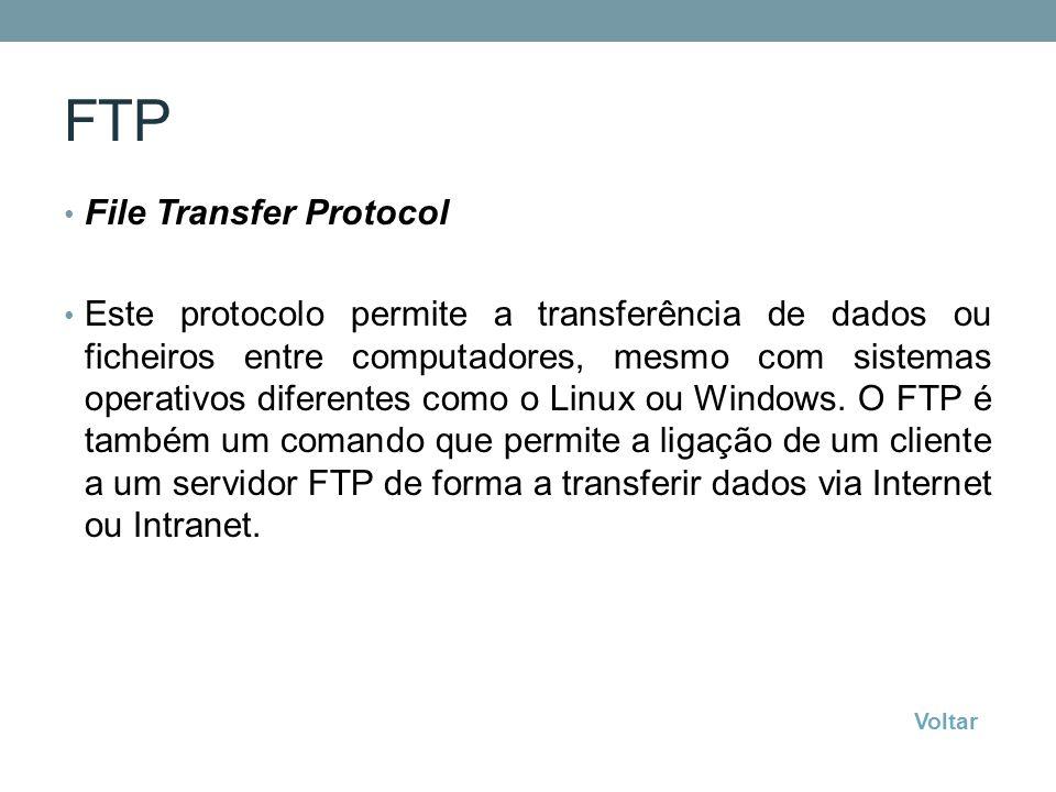 FTP File Transfer Protocol Este protocolo permite a transferência de dados ou ficheiros entre computadores, mesmo com sistemas operativos diferentes c