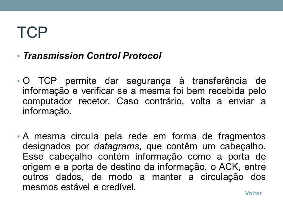 TCP Transmission Control Protocol O TCP permite dar segurança à transferência de informação e verificar se a mesma foi bem recebida pelo computador re