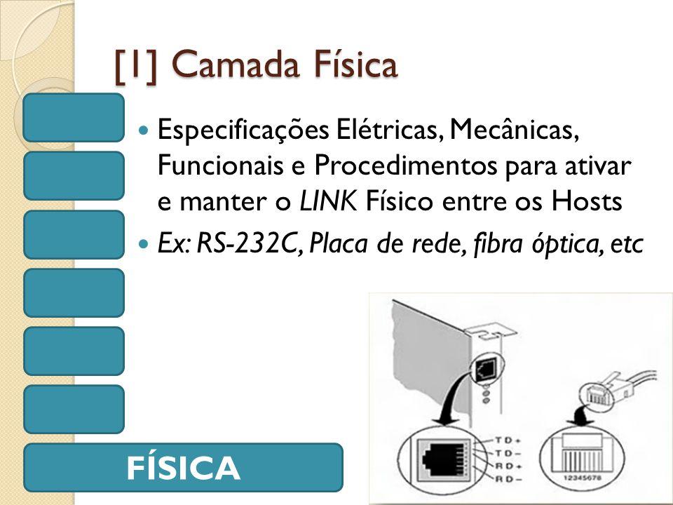 [1] Camada Física Especificações Elétricas, Mecânicas, Funcionais e Procedimentos para ativar e manter o LINK Físico entre os Hosts Ex: RS-232C, Placa de rede, fibra óptica, etc FÍSICA