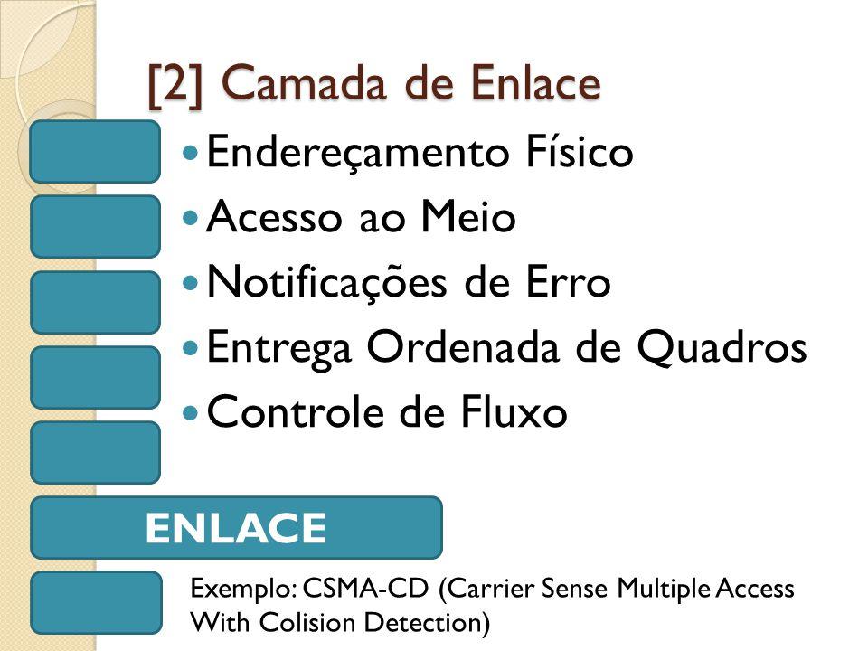 [2] Camada de Enlace Endereçamento Físico Acesso ao Meio Notificações de Erro Entrega Ordenada de Quadros Controle de Fluxo ENLACE Exemplo: CSMA-CD (Carrier Sense Multiple Access With Colision Detection)